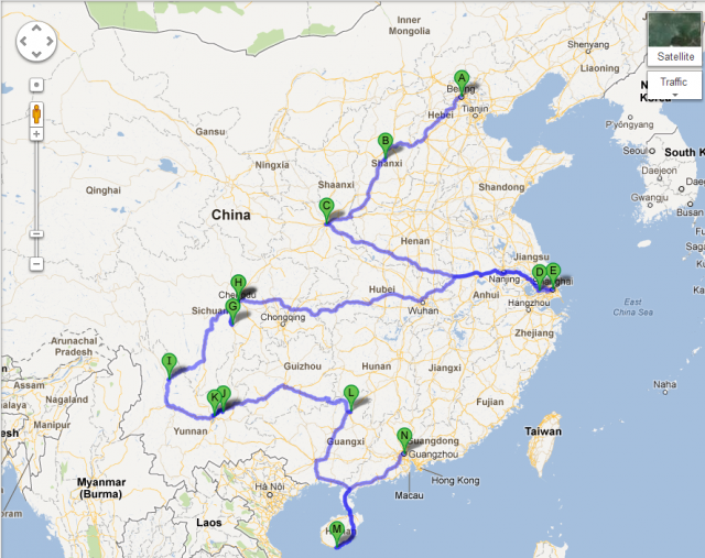 My probable route through China